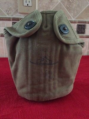 WW2 US Army Canteen / Cup Cover Khaki OD #3 Dated 1943