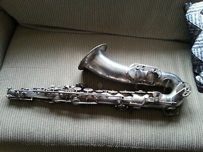 Evette Schaeffer Tenor Sax Silver Plated for PARTS No Neck FREE Shipping
