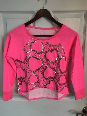Justice Girls 3/4 Sleeve Sweatshirt Pink With heart Sequence Detail Size 7