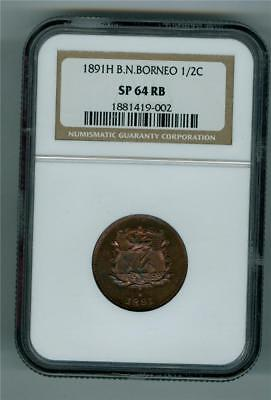 British North Borneo 1891-H 1/2 Cent Copper Ngc Sp-64 Rb Specimen Strike Scarce