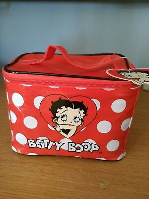 Betty Boop Cartoon Logo Red Patent Vinyl Cosmetic Train Case