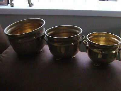 3 Antique / Vintage - Brass - Round Planters - With Twin Handles On Feet