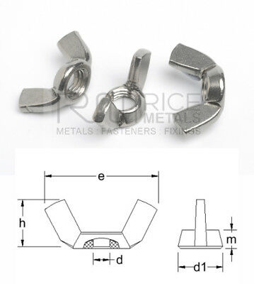 Wing Nuts Stainless Steel/Zinc Plated Steel or Brass Metric & Imperial Sizes