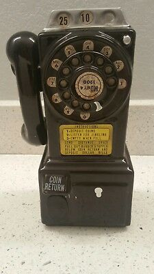 Vintage Rotary Black Payphone Ceramic Coin Bank Wall Mount Telephone