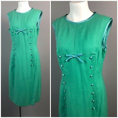 Vintage 1950s 1960s Green and Blue Wool Sleeveless Wiggle Dress Small