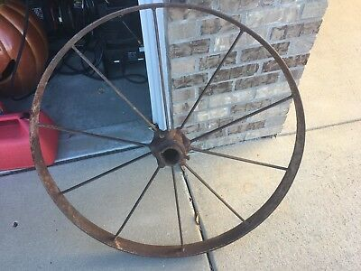 Old Vintage Antique Primitive Steel Spoke Wagon Cart Implement Wheel Farm Decor2