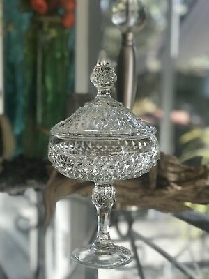 Indiana Glass Diamond Point Vintage Pedestal Base Candy Nut Dish w/ Lid-Crystal