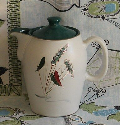 Retro Denby Greenwheat Signed A College Large Coffee Pot 1950's Vintage