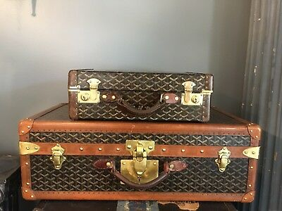 Rare pair of GOYARD antique suitcase trunks French Paris steamer brass hardware