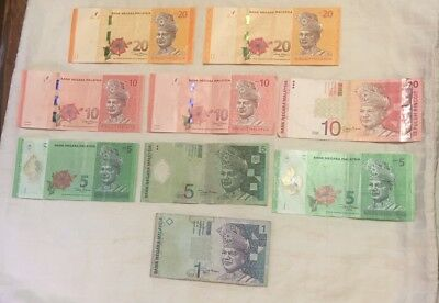 Malaysia 86 Ringgit Currency Banknotes Set of 9 Notes