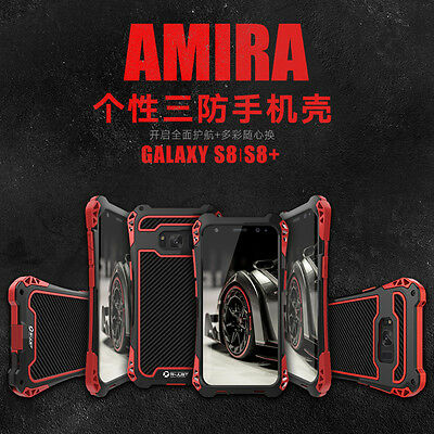 R-JUST Shockproof Carbon Fiber Metal Armor Cover Case For Samsung Galaxy S8 Plus