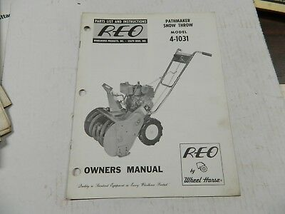 Wheel Horse Reo Pathmaker Snothrower  Parts List And Instruction Manual