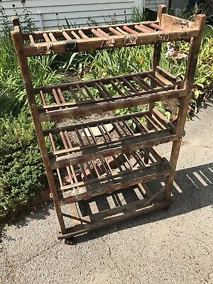 Antique Industrial Rack Cart Factory Wood Cast Iron Wheels Duck Decoy Baker Rack