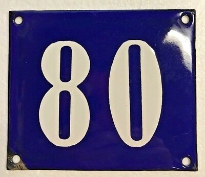 Antique French Enamel House Number Sign, Door gate plaque street plate 80