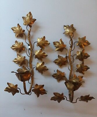Vtg pair gold leaf gilt candle sconces Italy Hollywood Recency mid century