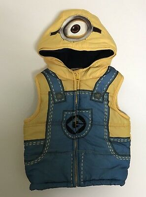 Toddler Boys Despicable Me Minions Costume Puffy Hooded Vest 5T Yellow Blue