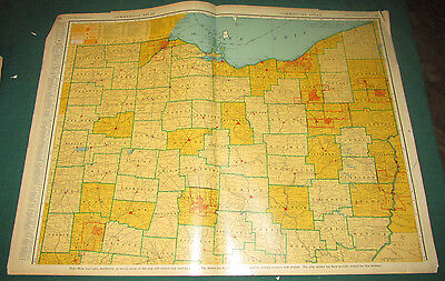 Vintage Rare Large Comercial 1941 Map Northern Ohio Section Railroad Line