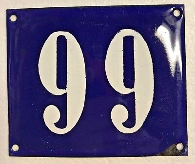 Antique French Enamel House Number Sign, Door gate plaque street plate 99