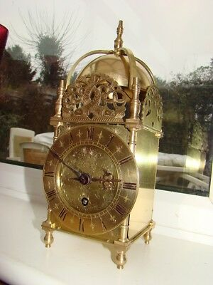 """French 8 day Lantern clock striking on bell rare mov't by exacta 10""""1/2"""" high"""