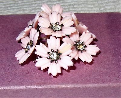 Old Vintage Pink Celluloid? Plastic Flower Pin Clear Rhinestones Holiday Jewelry