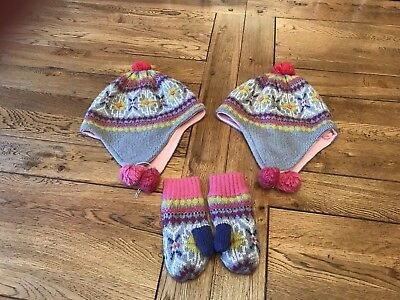 Mini boden Hat Gloves Bundle Age 3-6 Fair-isle Print