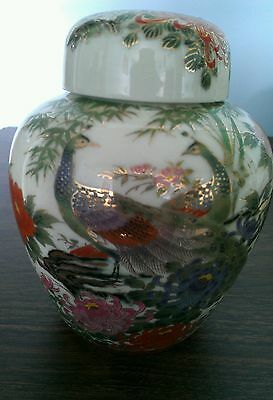 Hand Painted Vase/Matching Cover Designed With 2 Peacocks & FlowersMade inJapan