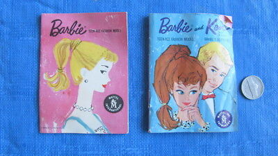 TWO Vintage Ponytail Pink & Blue Barbie Booklets Catalogs 1960s Dresses Outfits