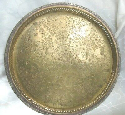 ANTIQUE ISLAMIC HANDMADE BRASS TRAY Orientalisches Messing Tablett Signed MM