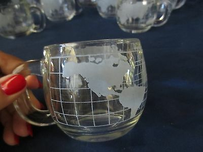 8 Old Vintage NESTLE NESCAFE Etched World Globe Glass Coffee Mugs/Tea Cups