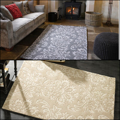 Floral Design Quality Thick Soft Handtufted 100% Wool Beige Grey Rug in 2 Sizes