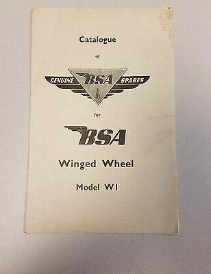 Bsa Winged Wheel Brochure Bicycle 1953 Moterized Parts Model W1 Motorcycles Rare