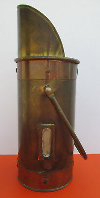 Antique Solid Metal Brass and Copper Coal Scuttle Scoop with Handle