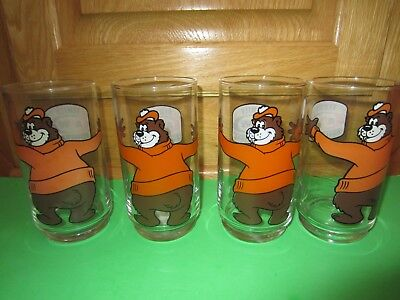 Vintage A & W Glasses Tumblers with Bear Set of4 Unused 1980s?