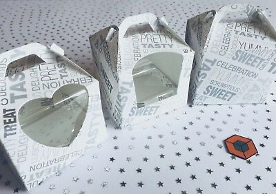 Single Cup cake boxes ~ Silver PATTERN ~with or without Window  **STAR BUY**