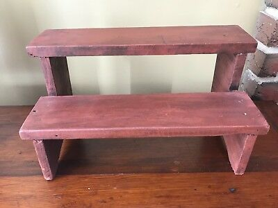 Primitive Red Painted Two Step Display Shelf