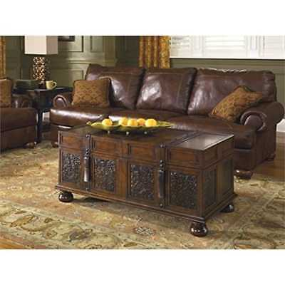 Wooden Coffee Table Storage Chest Trunk Brown Old Antique Style Home Blanket