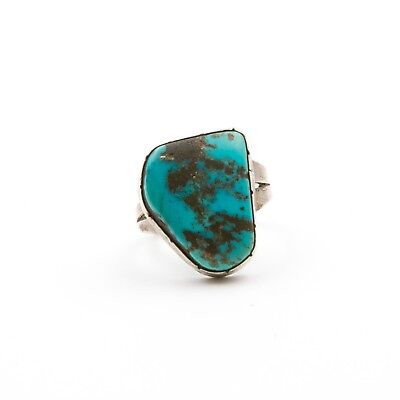 Vintage Navajo Old Pawn Sterling Silver Bisbee Turquoise Ring.