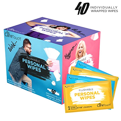 Care Touch Flushable Personal Wipes for Men and Women, 40 Individually Wrapped