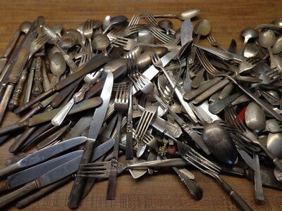 Vintage mixed silverware, flatware, silverplate, 35 pieces.  Arts and crafts?