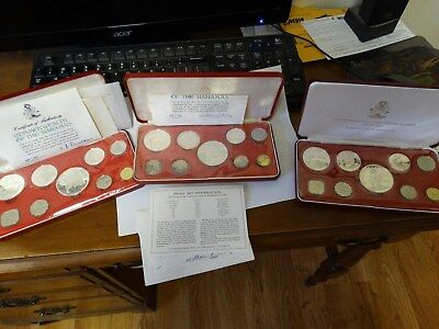 1973, 1974 and 1975 SILVER BAHAMAS PROOF SETS- nearly 9 ounces of SILVER