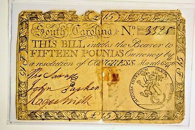 1776 Colonial Continental >SOUTH CAROLINA< Note! **VERY RARE!**SC125**No. 3325**