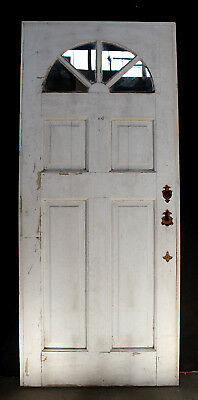 "31""x74"" Antique Vintage Wood Wooden Side Back Entry Exterior Door 4 Window Glass"