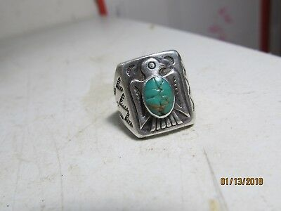 Antique Signed Bell Trading Post Sterling Silver Turquoise Thunderbird Ring