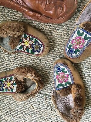 Lot of 8 American Indian Art Beaded Slippers, Bark Canoe, Wooden carved faces,