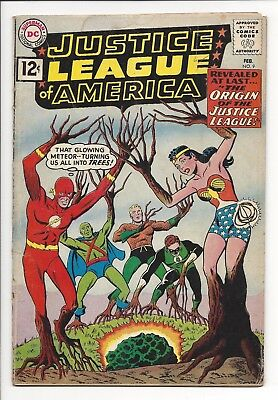 JUSTICE LEAGUE OF AMERICA #9 GD Origin Issue - Key Book (DC 1962) No Restoration