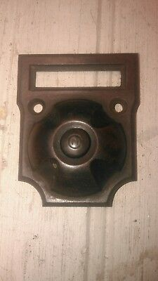 Antique vtg Bakelite brown push button doorbell with name plate.