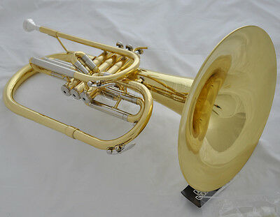 Professional Marching Mellophone horn F key gold laq. with new case mouthpiece