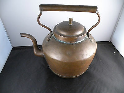 "Antique French large copper kettle, great patina, old, hand made, 11"" high"