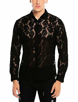 Coofandy Men's See Through Sexy Lace Mesh Long Sleeve Slim Fit Dress Shirt Party