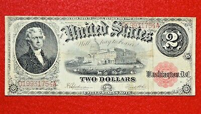 1917 $2 Legal Tender US RED SEAL LARGE Note! FR 60 >> BEAUTIFUL NOTE SUPER COOL!